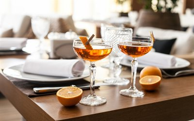orange cocktail, alcoholic drinks, glass glasses, fruit cocktail, citrus fruits, oranges