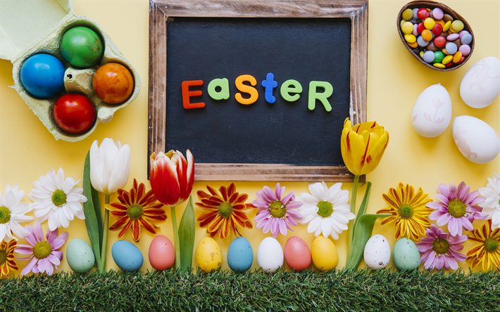 Easter, multi-colored Easter eggs, tulips, spring, spring flowers, candies