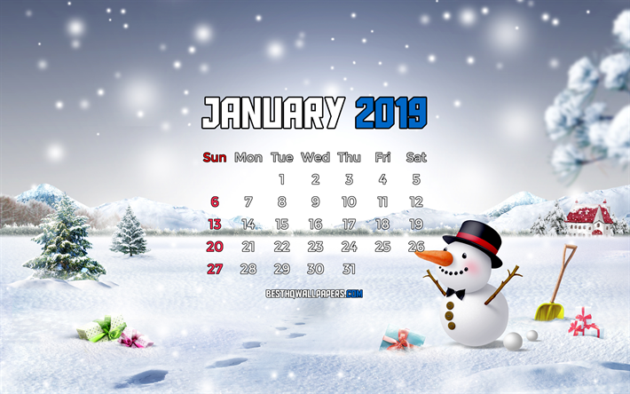 Calendar January 2019, 4k, snowman, 2019 calendar, winter landscape, January 2019, calendar with snowman, 2019 calendars