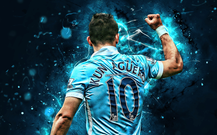Download wallpapers Sergio Aguero, back view, Manchester ...