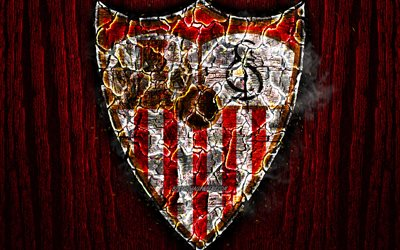 Sevilla, scorched logo, LaLiga, red wooden background, spanish football club, La Liga, grunge, football, soccer, Sevilla logo, fire texture, Spain