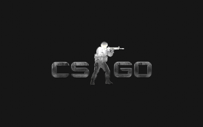 CS GO, Counter-Strike, Global Offensive, metal logo, creative art, CS GO emblem, metal mesh texture, computer game
