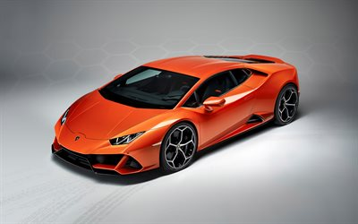 Lamborghini Huracan, Evo, 2019, orange supercar, exterior, new orange Huracan, italian sports cars, Lamborghini