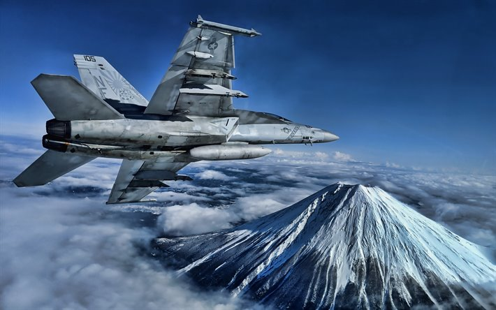 Boeing FA-18EF Super Hornet, 4k, fighter, American Army, US Navy, Boeing, combat aircraft, US Army