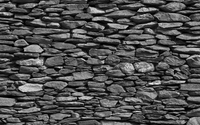 black stone wall, macro, black brickwall, stone textures, gray grunge background, black bricks, black stones, stone backgrounds, gray backgrounds, black stone