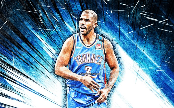 4k, chris paul, grunge, kunst, oklahoma city thunder, 2020, nba, blau, abstrakt-strahlen, basketball-stars, christopher emmanuel paul, okc thunder, basketball, usa, chris paul okc thunder, kreative, chris paul 4k