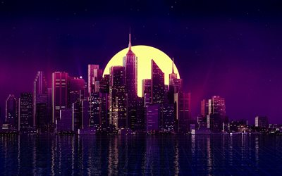 abstract nightscapes, 4k, moonlight, creative, abstract skyline, 3D art, abstract cityscapes, abstract city