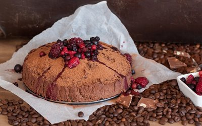 chocolate cake with berries, chocolate cake, berries, coffee beans, chocolate, cakes, dessert