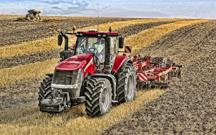 CASE IH Magnum 380 CVX, plowing field, 2020 tractors, agricultural machinery, red tractor, crawler tractor, HDR, tractor in the field, agriculture, harvest, Case