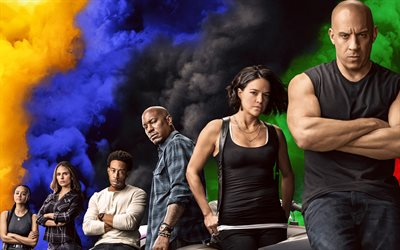 Fast and Furious 9, 2020, 4k, poster, promotional materials, all characters, all actors, Vin Diesel, Jordana Brewster, Michelle Rodriguez