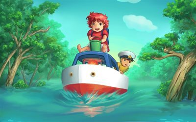 Ponyo, boat, Sousuke Ponyo on the Cliff by the Sea