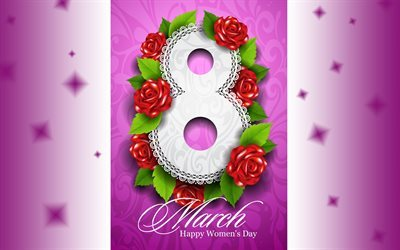 8 march, Happy Womens Day, roses, purple background, International Womens Day