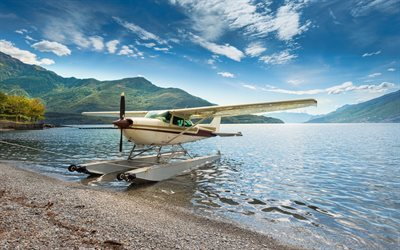 Lake Como, Coast, summer, Seaplane, Italy