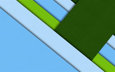 material design, green and blue, geometric shapes, lines, lollipop, geometry, creative, strips, blue backgrounds, abstract art