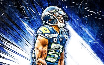 4k, bobby wagner, nfl, grunge, kunst, seattle seahawks, american football, linebacker, bobby joseph wagner, national football league, die blauen abstrakten strahlen, bobby wagner seattle seahawks