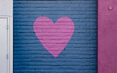 pink heart on a blue wall, pink heart, love concepts, brick wall texture, romance