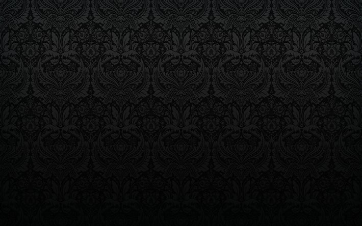 Download wallpapers 4k, black damask pattern, black ...
