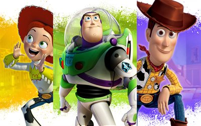Toy Story 4, 4k, main characters, Woody, Billy, Jessie, promotional materials, poster