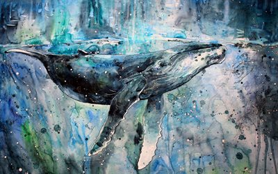 painting whale, artwork, creative, wildlife, underwater world, whales