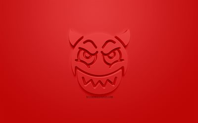 Devil 3d icon, creative 3d art, red background, anger concepts, 3d icons, red devil icon, 3d symbols