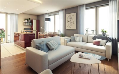 stylish interior design living room, modern interior, red polished furniture, living room with dining room, stylish interior