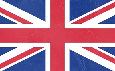 Flag of the Great Britain, grunge style, stone texture, United Kingdom flag, Great Britain, UK Flag
