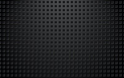 Black metal mesh, metal texture, metal background with square cutouts, dark background, mesh