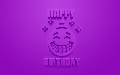 Happy Birthday, 3d art, congratulation, purple background, birthday 3d icon, greeting card, 3d symbols, 3d icons