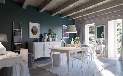stylish classic dining room interior, wooden beams on the ceiling, white furniture, modern interior design, dining room