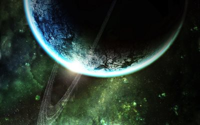 Saturn, green nebula, digital art, galaxy, stars, sci-fi, universe, NASA, planets, Saturn from space
