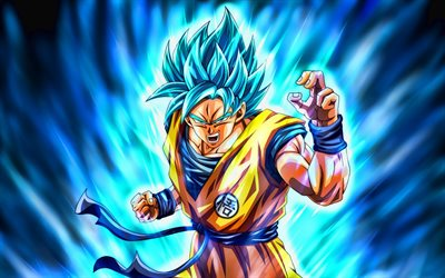 Super Saiyan Blue, anger goku, 4k, Son Goku, 2019, blue fire, DBS characters, artwork, DBS, Super Saiyan God, Dragon Ball Super, manga, Dragon Ball, Goku