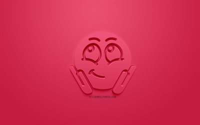 Shy 3D Icon, Shy concepts, pink background, pink 3d icon, Shy 3d emotions icon, 3d symbols