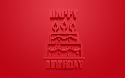 Happy Birthday, red 3d art, red background, 3d cake icon, congratulation, Birthday, greeting card