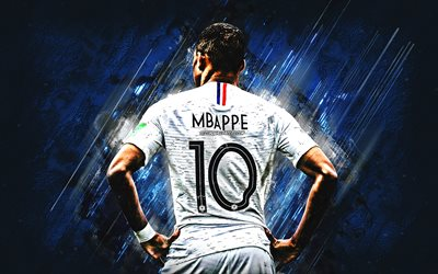 Kylian Mbappe, France national football team, number 10, French football player, striker, France, famous football players, blue stone background, creative art, football