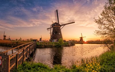 Kinderdijk, sunset, mill, bridge, Holland, Netherlands, Europe, beautiful nature