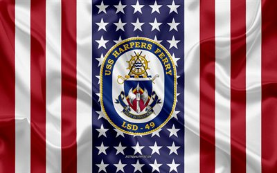USS Harpers Ferry Emblem, LSD-49, American Flag, US Navy, USA, USS Harpers Ferry Badge, US warship, Emblem of the USS Harpers Ferry