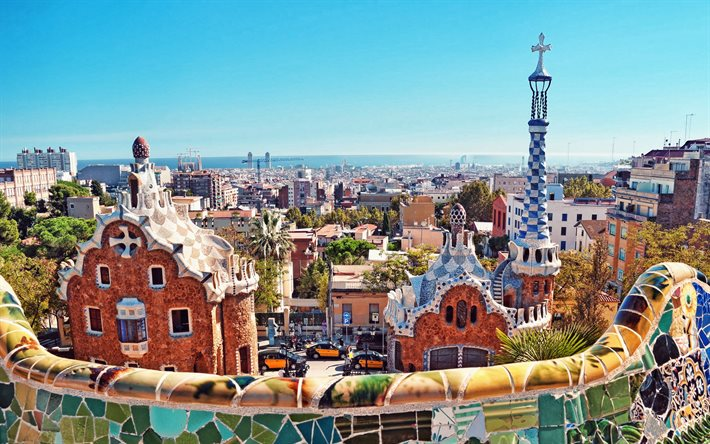 Barcelona, Park Guell, Catalonia, Carmel Hill Antoni Gaudi, Barcelona interesting houses, parks, cityscape, Barcelona skyline, Spain
