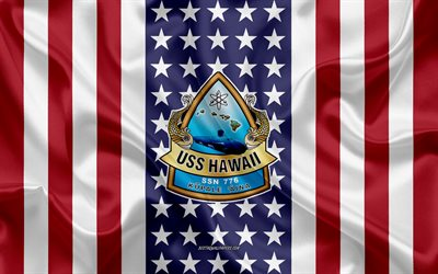 USS Hawaii Emblem, SSN-776, American Flag, US Navy, USA, USS Hawaii Badge, US warship, Emblem of the USS Hawaii