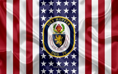USS Hopper Emblem, DDG-70, American Flag, US Navy, USA, USS Hopper Badge, US warship, Emblem of the USS Hopper