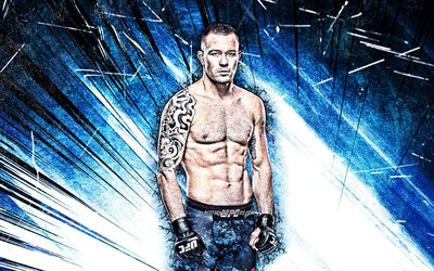 4k, Colby Covington, grunge art, american fighters, MMA, UFC, Mixed martial arts, Colby Covington 4K, blue abstract rays, UFC fighters, MMA fighters