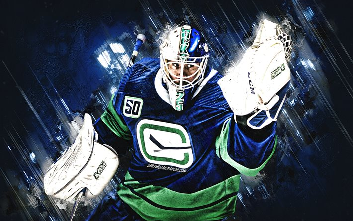 Download Wallpapers Jacob Markstrom Vancouver Canucks Nhl Swedish Hockey Player Goalkeeper Portrait Blue Stone Background Hockey National Hockey League For Desktop Free Pictures For Desktop Free