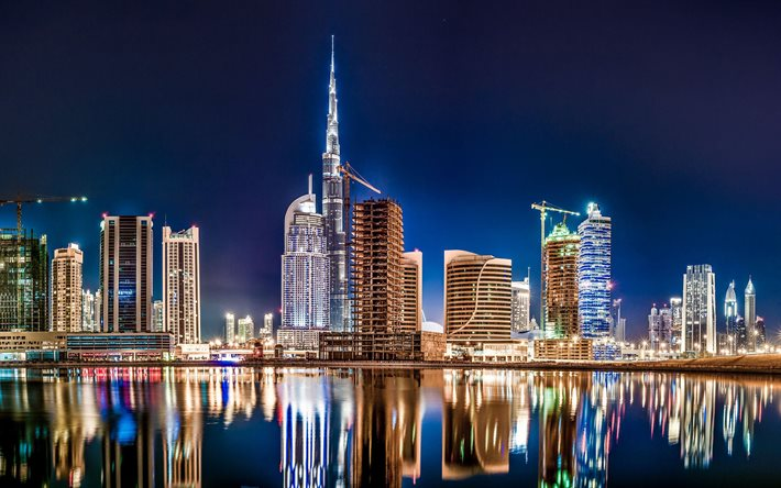 Dubai, Burj Khalifa, night, skyscrapers, Dubai cityscape, city lights, UAE, Dubai at night