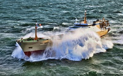 Alida, HDR, sea, fishing vessels, storm, Alida SCH 6, fishing ships