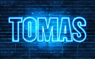 Tomas, 4k, wallpapers with names, horizontal text, Tomas name, blue neon lights, picture with Tomas name