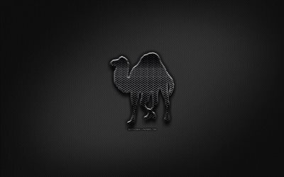 Perl black logo, programming language, grid metal background, Perl, artwork, creative, programming language signs, Perl logo