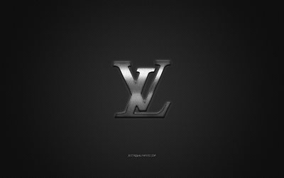 Louis Vuitton logo, metal emblem, apparel brand, black carbon texture, global apparel brands, Louis Vuitton, fashion concept, Louis Vuitton emblem