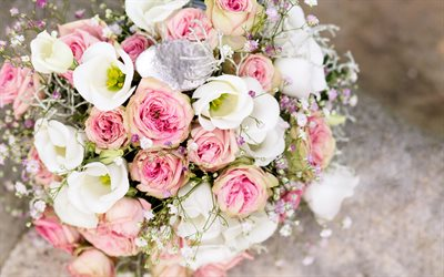 wedding bouquet, bouquet of pink and white roses, wedding concepts, bouquet of roses, beautiful flowers, wedding, roses
