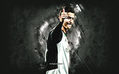 Cristiano Ronaldo, portrait, Portuguese footballer, Juventus FC, CR7, world soccer star, Ronaldo thumbs up, football, Serie A, Italy, Champions League