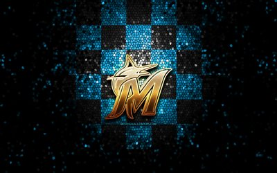 Miami Marlins new logo, 2020, glitter logo, MLB, blue black checkered background, USA, Miami Marlins, american baseball team, Miami Marlins logo, mosaic art, baseball, America