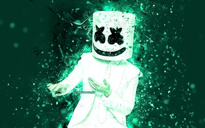 4K, DJ Marshmello, turquoise neon lights, dance, music stars, Christopher Comstock, american DJ, Marshmello 4K, turquoise backgrounds, superstars, creative, Marshmello, DJs